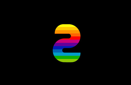 rainbow color colored colorful number 2 two logo design suitable for a company or business