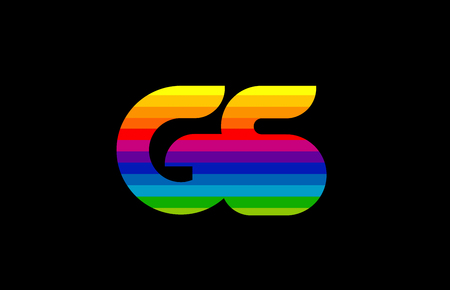 rainbow color colored colorful alphabet letter gs g s logo combination design suitable for a company or business