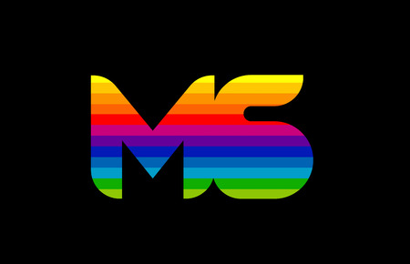 rainbow color colored colorful alphabet letter ms m s logo combination design suitable for a company or business 向量圖像