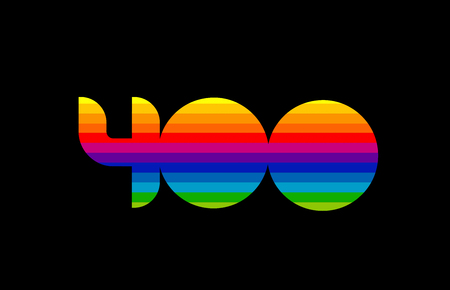 rainbow color colored colorful number 400 logo design suitable for a company or business