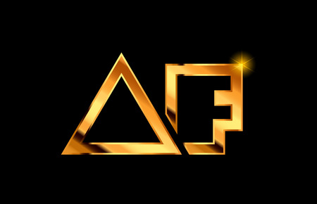 gold golden metal alphabet letter logo combination af a f design suitable for a company or business