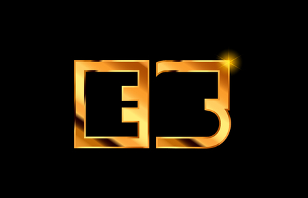 gold golden metal alphabet letter logo combination es e s design suitable for a company or business Ilustração