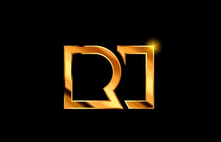 gold golden metal alphabet letter logo combination ri r i design suitable for a company or business Ilustrace