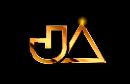 gold golden metal alphabet letter logo combination ja j a design suitable for a company or business