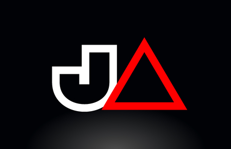 red white alphabet letter logo combination ja j a design suitable for a company or business