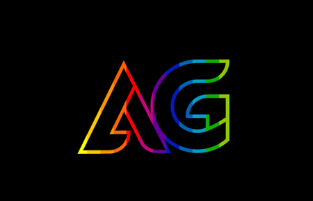 rainbow color colored colorful alphabet letter ag a g logo combination design suitable for a company or business