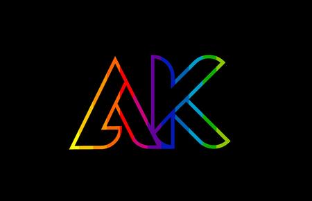 rainbow color colored colorful alphabet letter ak a k logo combination design suitable for a company or business Illusztráció