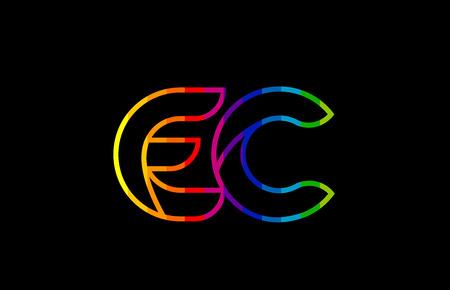 rainbow color colored colorful alphabet letter ec e c logo combination design suitable for a company or business Illustration