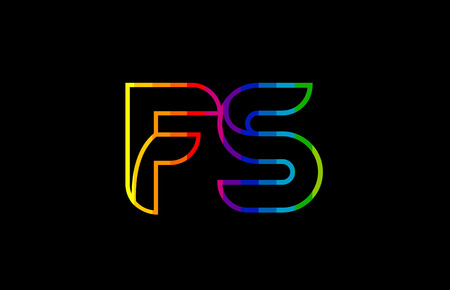 rainbow color colored colorful alphabet letter fs f s logo combination design suitable for a company or business