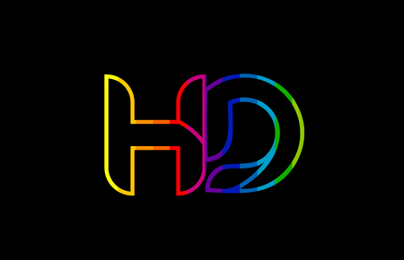 rainbow color colored colorful alphabet letter hd h d logo combination design suitable for a company or business