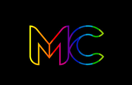 rainbow color colored colorful alphabet letter mc m c logo combination design suitable for a company or business Ilustração