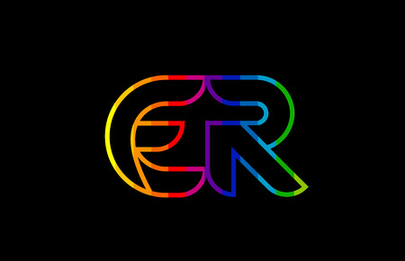 rainbow color colored colorful alphabet letter er e r logo combination design suitable for a company or business