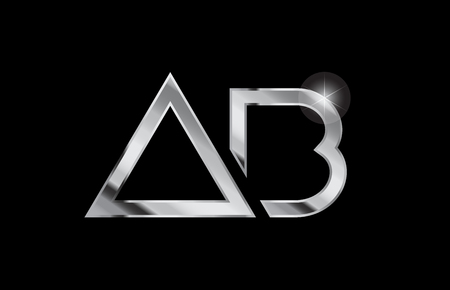 silver metal alphabet letter logo combination ab a b design suitable for a company or business