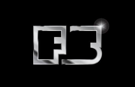 silver metal alphabet letter logo combination fs f s design suitable for a company or business Ilustração