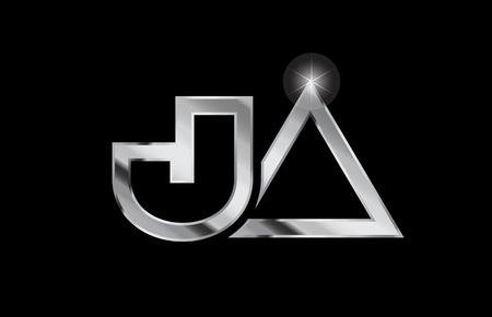 silver metal alphabet letter logo combination ja j a design suitable for a company or business