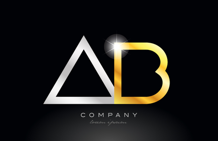 gold silver alphabet letter logo combination ab a b design suitable for a company or business