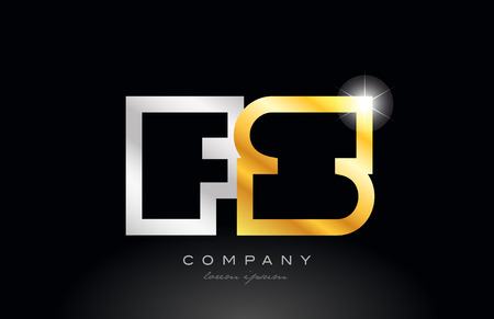 gold silver alphabet letter logo combination fs f s design suitable for a company or business