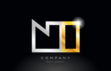 gold silver alphabet letter logo combination ni n i design suitable for a company or business Illustration