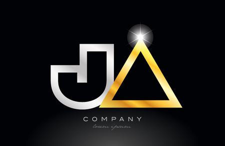 gold silver alphabet letter logo combination ja j a design suitable for a company or business
