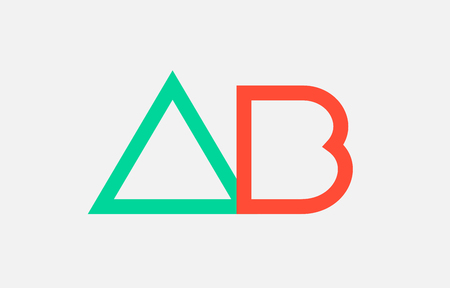 orange green alphabet letter logo combination ab a b design suitable for a company or business