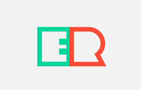orange green alphabet letter logo combination er e r design suitable for a company or business