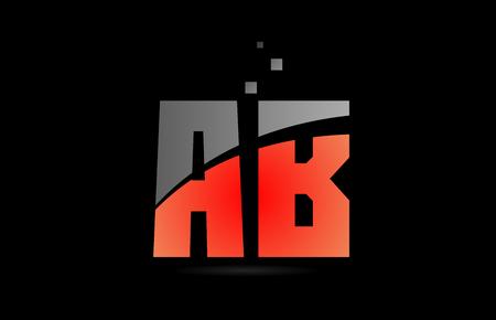 orange grey on black background alphabet letter AB A B logo combination design suitable for a company or business
