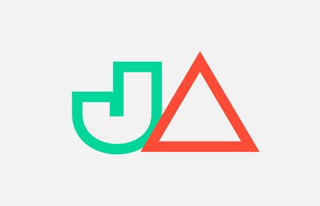 orange green alphabet letter logo combination ja j a design suitable for a company or business