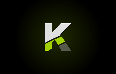 Design of alphabet letter logo k with green white and black color icon for a company or business