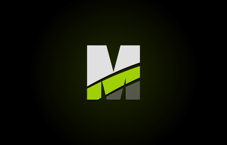 Design of alphabet letter logo m with green white and black color icon for a company or business