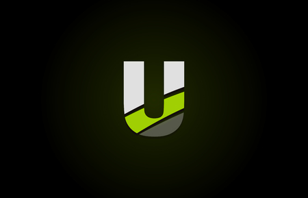 Design of alphabet letter logo u with green white and black color icon for a company or business