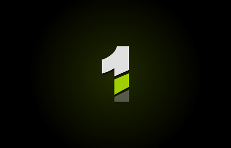 Design of number logo 1 with green white and black color icon for a company or business 向量圖像