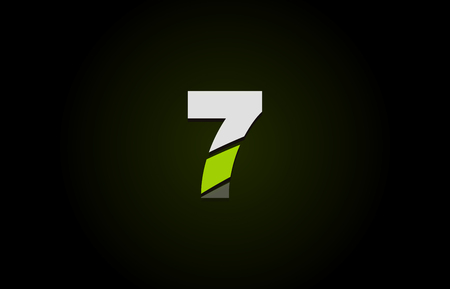 Design of number logo 7 with green white and black color icon for a company or business