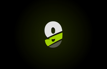 Design of number logo 9 with green white and black color icon for a company or business