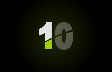Design of number logo 10 with green white and black color icon for a company or business