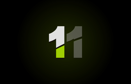 Design of number logo 11 with green white and black color icon for a company or business 向量圖像