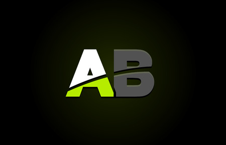 Design of alphabet letter logo combination ab a b with green white and black color icon for a company or business 向量圖像