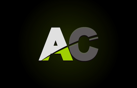 Design of alphabet letter logo combination ac a c with green white and black color icon for a company or business