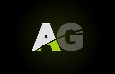 Design of alphabet letter logo combination ag a g with green white and black color icon for a company or business