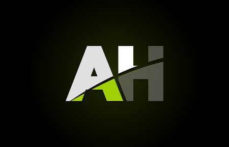 Design of alphabet letter logo combination ah a h with green white and black color icon for a company or business