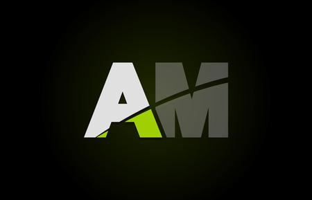 Design of alphabet letter logo combination am a m with green white and black color icon for a company or business 向量圖像