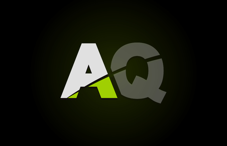 Design of alphabet letter logo combination aq a q with green white and black color icon for a company or business