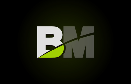 Design of alphabet letter logo combination bm b m with green white and black color icon for a company or business