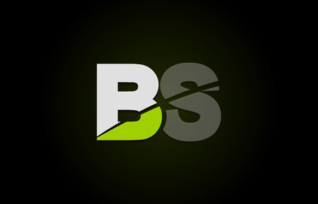 Design of alphabet letter logo combination bs b s with green white and black color icon for a company or business