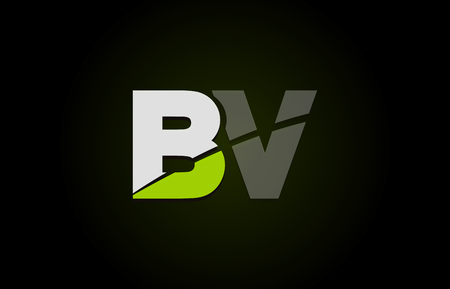 Design of alphabet letter logo combination bv  b v with green white and black color icon for a company or business