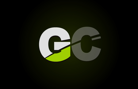 Design of alphabet letter logo combination gc g c with green white and black color icon for a company or business