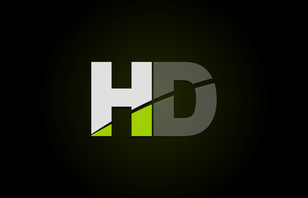 Design of alphabet letter logo combination hd h d with green white and black color icon for a company or business 向量圖像