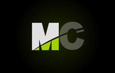 Design of alphabet letter logo combination mc m c with green white and black color icon for a company or business Illustration