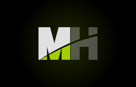 Design of alphabet letter logo combination mh m h with green white and black color icon for a company or business 向量圖像