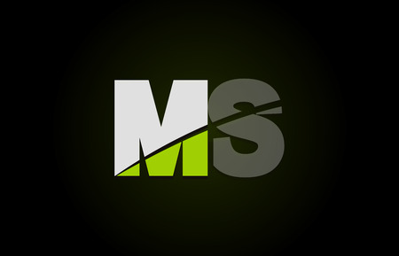 Design of alphabet letter logo combination ms m s with green white and black color icon for a company or business