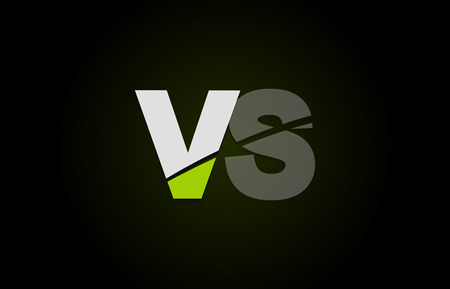 Design of alphabet letter logo combination vs v s with green white and black color icon for a company or business